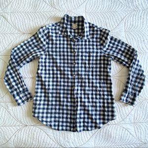 J. Crew Blue Plaid/Checkered Cotton Shirt